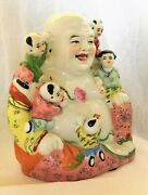 """Old Chinese Porcelain Laughing Buddha Statue Hand Painted Marked 8.5"""" Nice"""