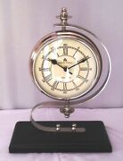 Vintage Collectible Nickle Made Desk Clock Nautical Table Clock With Wooden Base
