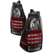 Tail Lights Pair Clear Lens Black Left Right Set Fits 2006-2009 Toyota 4runner