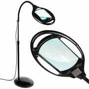 Led Magnifying Floor Lamp Reading 5 Diopter 2.25x Magnifier Lighted Glass Lens