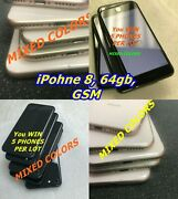 Wholesale 5 Pc Lot Apple Iphone 8 64gb Gsm A1905 5-phones Lot Mixed-colors