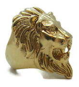 14k Solid Yellow Gold Lion Head Ring