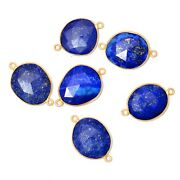 Gold Plated Silver Bezel Lapis Lazuli Connector Faceted Suppliers Finding Drop