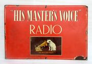 1930and039s Vintage Old Rare His Master Voice Radio Ad Porcelain Enamel Sign Board
