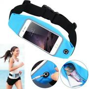 Blue Sports Workout Belt Waist Bag Case Gym Pouch With K7p For Smartphones