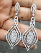 Deal 4.55ct Natural Round Diamond Hanging Chandeliers Earrings In 14k Gold
