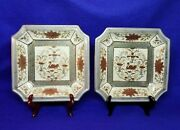 Vtg Pair Hand Painted Andrea By Sadek Shallow Trays Swan Flowers Asian Japan