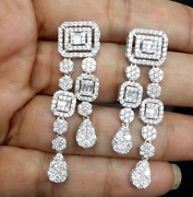 Deal 3.00ct Natural Baguettes Diamond Hanging Chandeliers Earrings In 14k Gold