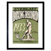 Sport Cover Boxing Record Everlast Figure Statue 1933 Usa Framed Print 9x7 Inch