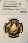 1986 Great Britain Gold 2 Pounds Commonwealth Games Ngc Pf 69 Ultra Cameo