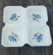 🔴art Deco Poole Pottery Divided Serving Dish Creamware W. Floral Decoration