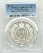 2016 Royal Mint Queens 90th Birthday Andpound5 Five Pound Silver Proof Coin Pcgs Pr69