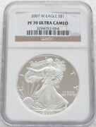 2007 United States Liberty Eagle 1 One Dollar Silver Proof 1oz Coin Ngc Pf70 Uc