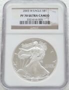 2003 United States Liberty Eagle 1 One Dollar Silver Proof 1oz Coin Ngc Pf70 Uc