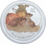 2008-p Australia Lunar Year Of The Mouse Colour 2 Two Dollar Silver 2oz Coin