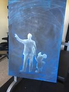 Original One Of A Kind Hand Painted Canvas - Disneyland Disney Partners Statue