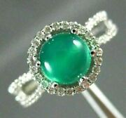 Estate 1.73ct Diamond And Aaa Cabochon Green Agate 14kt White Gold Engagement Ring