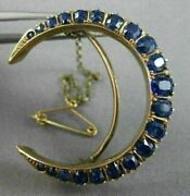 Antique 5.0ct Aaa Extra Facet Sapphire 14k Rose Gold Handcrafted Moon Brooch Pin