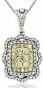Estate 1.61ct White And Fancy Yellow Diamond 14kt White Gold Square Flower Pendant
