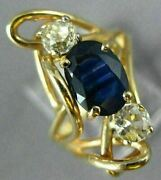 Antique Large 1.82ct Diamond And Aaa Sapphire 14kt Yellow Gold 3d Anniversary Ring