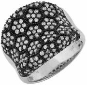 Large 1.40ct Diamond 14kt White And Black Gold Multi Row Flower Octagon Love Ring