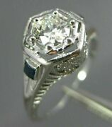 Antique .47ct Diamond And Sapphire 14kt White Gold Filigree Engagement Ring 26681