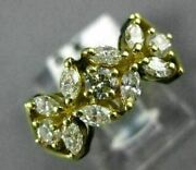 Antique Wide .94ct Marquise And Round Diamond 18kt Yellow Gold Floral Ring 1908