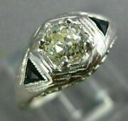 Antique .69ct Old Mine Diamond And Sapphire 14kt White Gold Engagement Ring 26682