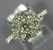 Estate Large .96ct Diamond 14k White Gold Solitaire Cluster Halo Engagement Ring