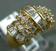 Estate Large 1.20ct Round And Baguette Diamond 18k Yellow Gold 3d Fun Ring 14062