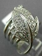 Antique Wide .60ct Diamond 14kt White Gold 3d Classic Pave Leaf Coil Ring 16809