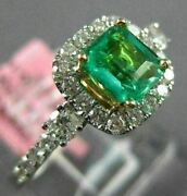 Estate 1.17ct Diamond And Aaa Emerald 18kt Two Tone Gold 3d Square Engagement Ring