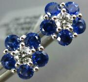 Estate Large 1.76ct Diamond And Aaa Sapphire 18kt White Gold Flower Stud Earrings