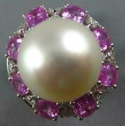 Large 5.10ct Diamond And Aaa South Sea Pearl And Pink Sapphire 18kt White Gold Ring
