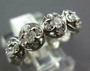 Wide 1.30ct Diamond 14kt White Gold 3d Circular Cluster Flower Anniversary Ring