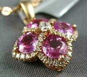 Estate 1.99ct Diamond And Aaa Pink Sapphire 18kt Rose Gold 4 Leaf Clover Pendant