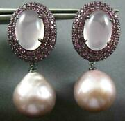 Large 12ct Pink Quartz Sapphire And Pink South Sea Pearl 18kt Black Gold Earrings