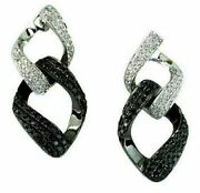1.17ct White And Black Diamond 14kt White Gold 3d Love Knot Link Hanging Earrings