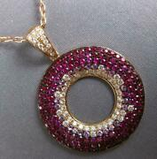 Large 3.51ct Diamond And Aaa Ruby 18kt Rose Gold Multi Row Circle Of Life Pendant