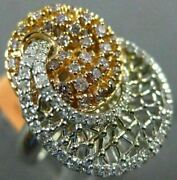 Estate Large .86ct White And Pink Diamond 18k White And Rose Gold Open Filigree Ring