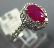Wide 1.37ct Diamond And Aaa Ruby 14kt White Gold Oval And Round Halo Engagement Ring