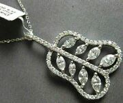 Estate Large 2.07ct Diamond 18kt White Gold Round And Marquise Exotic Pear Pendant