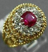 Antique Large .80ct Old Mine Diamond Aaa Ruby 18k Two Tone Gold Engagement Ring