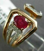 Estate Wide .98ct Round Diamond And Aaa Ruby 14kt Rose Gold 3d Taper Belt Fun Ring