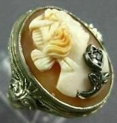 Antique Wide .02ct Rose Cut Diamond 14k White Gold Filigree Oval Lady Cameo Ring