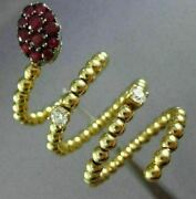 Estate Extra Large 1.07ct Diamond And Aaa Ruby 18kt Yellow Gold Etoile Snake Ring