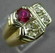 Antique Large 1.02 Old Mine Diamond And Ruby 14kt Two Tone Gold 3d Mens Gypsy Ring