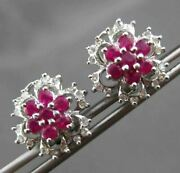 Antique 1.10ct Diamond And Aaa Ruby 14kt White Gold 3d Flower Clip On Earrings