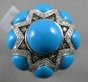 Estate Massive 9.97ct Diamond And Turquoise 14k Two Tone Gold 3d Star Flower Ring