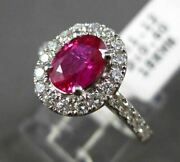 Estate Wide 1.72ct Diamond And Aaa Ruby 18k White Gold Oval Halo Engagement Ring